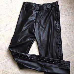 Black vegan leather side embossed leggings